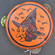 HALLOWEEN 1930's Witch Face Tin Tamborine Kirchhoff Co.