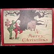 Antique Victorian Child's Christmas Candy Box w/Teddy Bear, Air Plane