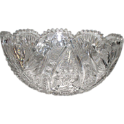 "Early American Brilliant Cut Glass Bowl SNG ""Libby"""