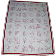 "Antique SGN/Dated 1906 Redwork ""Good Morning"" Child's Quilt*A Treasure"