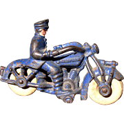 "Motorcycle 1930's Cast Iron Champion 5"" Solo Policeman"
