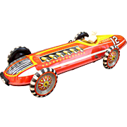 Marx Early 1950's Large Indy Style Wind-up Tin Race Car with Driver