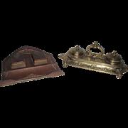 Antique 2 Inkwells Arts & Craft Gesch Bronze and Victorian Ornate Brass