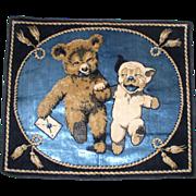 SOLD Early 1920s Whimsical BONZO & Teddy Bear Velvet Pillow Cover/Wall Art Tapestry