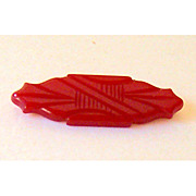 SALE Original 1930's BAKELITE Hand Carved Cherry Red Pin