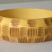 """SALE Large Chunky Bakelite Bracelet Hand Carved """"Basket Weave"""""""