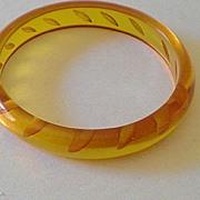 SALE 1930's Reverse Carved Applejuice Bakelite Bracelet