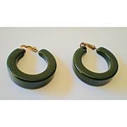 SALE LARGE Green Bakelite Hoop Earrings 1930's