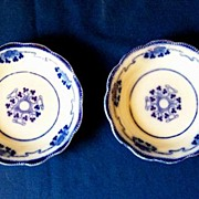 2 Antique Flow Blue Berry Bowls Lorne pattern by Grindley