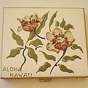 """SALE Vintage Hand Painted Powder Compact """"Aloha Hawaii"""""""