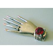 SALE Fabulous Vintage Sterling Brooch of a Hand Wearing Jewelry
