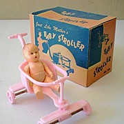 1950's Jeryco Dollhouse Baby Stroller In Box With Baby