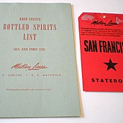 1950's Matson Line Liquor Menu & Stateroom Luggage Card