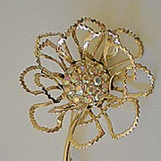 Large Glitzy Flower Brooch Signed Sarah Coventry
