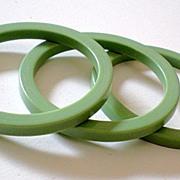 SALE Set of (3) 1950's Green Lucite Plastic Bracelets *New Old Stock*