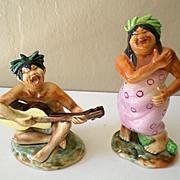 SALE Rare Pair Hawaiian Hula Figurines Signed Ucagco Japan