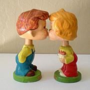 """SALE Vintage Pair """"Kiss Me"""" Kids Composition Head Bobbers"""