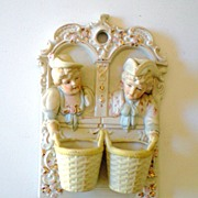 SALE Lovely Victorian Figural Wall Matches Holder