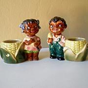 SALE Awesome Vintage Pair Black Americana Ceramic Planters