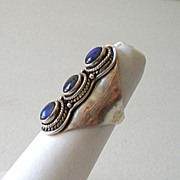 Large Sterling Silver Ring With Stones