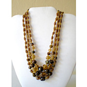 Lovely 3 Strand Glass Bead Necklace Fall Colors