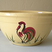 SALE Large Vintage Watt Pottery Mixing Bowl Rooster