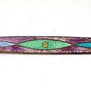 Lovely Guilloche Enamel Victorian Brooch Pin