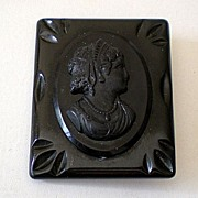 SALE Large Black BAKELITE Cameo Mourning Brooch
