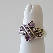 Vintage Silver & Marcasite Ring With Purple Heart Stones