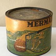 "SALE LARGE Old Advertising Tin ""Mermaid Brand"" Dates"