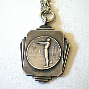 SOLD 1944 Art Deco Style Sterling High Dive Medal Awarded By Red Cross
