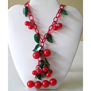 SALE To Die For All Original Bakelite & Celluloid Cherries Necklace