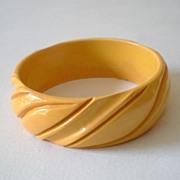 """SALE Wide Deeply Carved BAKELITE Bracelet 1"""""""