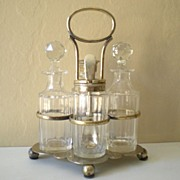 Lovely Victorian Crystal And Silverplate Cruet Set
