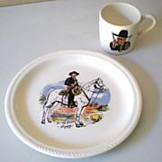 SOLD 1950s Hopalong Cassidy Cowboy Dinner Set Plate & Mug