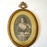 SALE Early Steel Point Engraving In Fabulous Frame Girl Reading