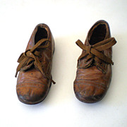 SOLD Adorable Pair Little Boy's Victorian Kid Leather Lace Up Shoes