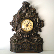 SALE Working Antique Cast Iron Mantle Clock Cherubs & Harps