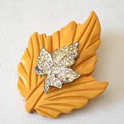 SALE Large Butterscotch BAKELITE Carved Leaf Brooch With Rhinestones