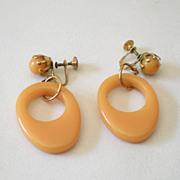 SALE Original 1930s Drop Hoop BAKELITE Earrings