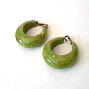 SALE LARGE Green Marbled Bakelite Hoop Earrings
