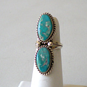 SALE Gorgeous Vintage American Indian Ring Turquoise & Silver