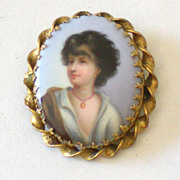 SALE Large Victorian Hand Painted Portrait Brooch