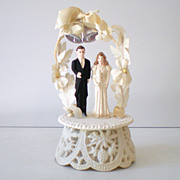 Vintage 1940s Wedding Cake Top Bride & Groom