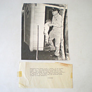 Old B&W Press Photo Child Rescued From Outhouse