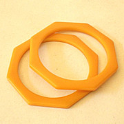 SALE PAIR Matched Octagon Bakelite Bracelets Butterscotch