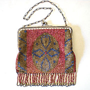 SALE Gorgeous Antique Victorian Micro Steel  Beaded Purse