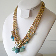 Triple Gold Link Chain Necklace With Blue Beads