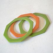 SALE (2) 1930s Green Bakelite Octagon Bracelets