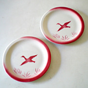 SALE (2) Airbrushed Jackson China Pink Geese Plates
